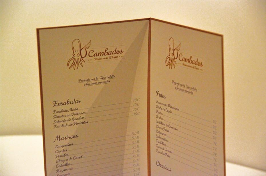 Cambados -Diseño de cartas de restaurante