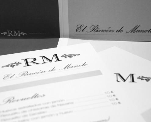 """Diseño de cartas de restaurante para el bar """"El Rincón de Manolo""""."""